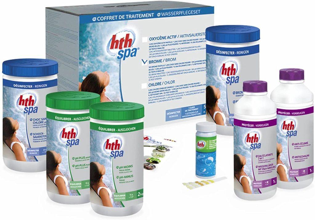 Kit traitement spa complet au Brome HTH pour modèle gonflable, encastré, ou portable